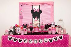Amazing dessert table at a Minnie Mouse birthday party! See more party ideas at CatchMyParty.com!