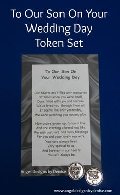Special Gift For Son On Wedding Day : To my son on his wedding day poem personalized gift Gifts, Wedding ...