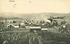 Hedmark fylke Ringsaker kommune GAUPEN. Næroversikt med flere gårder meieri og bolighus. Utg Finnborud, A.H.S. Co.. Stemplet 1907