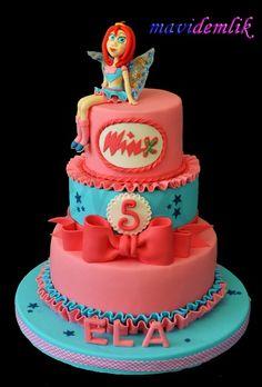 mavi demlik mutfağı- izmir butik pasta kurabiye cupcake tasarım- şeker hamurlu-kur: ELA'NIN WİNKS BLOOM PASTASI , WİNKS KURABİYELERİ V...