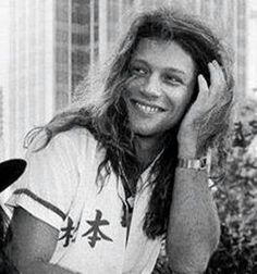 Rare B&W photo of Jon Bon Jovi late 80's