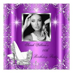 Birthday Women's Magenta Silver Heels Photo 5.25x5.25 Square Paper Invitation Card