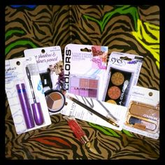 7 pc Makeup Bundle #2 You Get What's Pictured!! (1)- Colormates 7138 Shades Of Suede - Eyeshadow & Eyeliner Pencil.  (1)- Covergirl Lashexact 930 Black Waterproof. (1)- L.A. Colors 6 Color Eyeshadow BEP431 Playful. (1)- L.A. Color Eyes BES622 Sunflower (1)- Revlon Luxurious Color 505 Brushed Pewter. (1)- Covergirl Cheekers Bronzer 104 Golden Tan. (1)- Loreal Paris- leGloss Colour Riche 650 Princess Lolly. Mixed Makeup