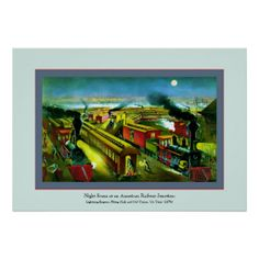 Night Scene Vintage Train Poster