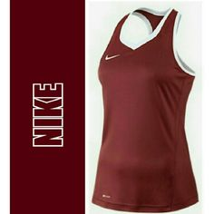 NIKE DRI FIT CRANBERRY  TOP. NIKE WOMEN'S DRI FIT SLEEVELESS TOP Ventilation panels on both sides Designed for full motion of upper body Body.        92% Nylon / 8% Spandex Panels.     88% Polyester / 12% Spandex Not Racer back Size Large Nike Tops Muscle Tees