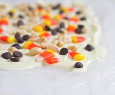 White chocolate candy corn bark (would be good with pretzels added)