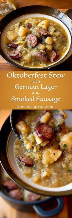Oktoberfest stew with German lager beer and smoked sausage .use turnips instead of potato and you've got a keto stew! Slow Cooker Recipes, Crockpot Recipes, Soup Recipes, Dinner Recipes, Cooking Recipes, Recipies, Sausage Recipes, Grilling Recipes, Vegetarian Recipes