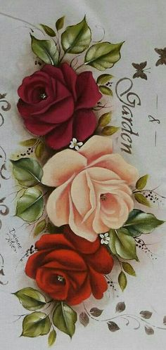 This Pin was discovered by Jua One Stroke Painting, Stencil Painting, Fabric Painting, Newspaper Art, Basket Crafts, Decoupage Paper, Fall Flowers, Vintage Roses, Beautiful Roses