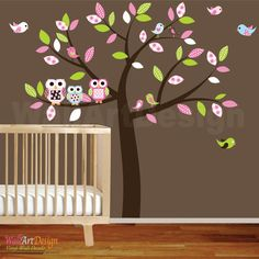 Baby nursery wall decal baby girl wall decals Wall sticker vinyl owl tree wall decals kids children room decor wall art by wallartdesign on Etsy