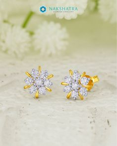 0c067822d Pretty floral inspired diamond and gold earrings from #Nakshatra for a  striking style statement.