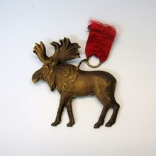 Antique Dresden paper Reindeer Christmas ornament