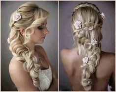 Beautiful braided rose embelished hairstyle idea for your special day