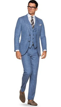 I think this is a look but cannot confirm that. This is a blue linen three piece combo with a white spread collar brown and white striped linen tie paisley patterned cotton tie with brown tassel loafer Men's Fashion, Mens Fashion Blog, Fashion Suits, Blue Suit Wedding, Wedding Suits, Mens Light Blue Suit, Blue Suits, Affordable Mens Suits, Men's Tuxedo Styles