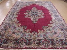 10 x 17 Persian Kerman Hand Knotted Wool Burgundy Large Traditional Oriental Rug #Persian #TraditionalPersianOriental