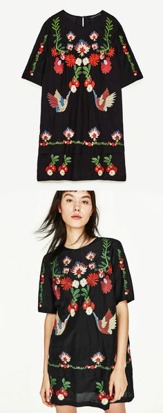 A Rich Embroidery Dress in Black now available at $60. This dress exhibit brilliant colours with beautiful embroidered flowers and birds.