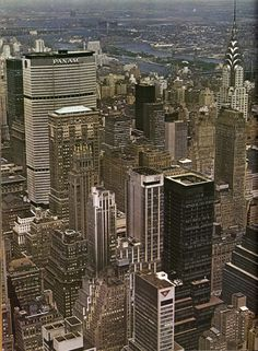 Midtown Manhattan looking northeast from Empire State Building showing the Pan Am and Chrysler Buildings. May 1965.