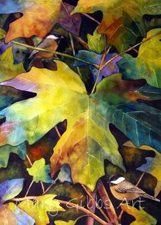 Leaves | Mary Gibbs Art. Notice how the very dark colors set off the light leaves creating sense of dimension,