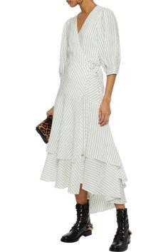 f5817584c4a6 GANNI Wilkie pinstriped silk and cotton-blend seersucker midi wrap dress  Designer High Heels,