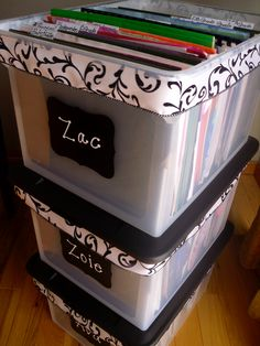 Organize kid's papers in a Memories box for kids school papers , pictures, projects etc. your saving from each grade ... http://www.organizethisfamily.blogspot.com/