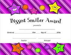 Freebie: End of Year-Biggest Smiler Award!