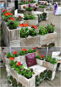 80 Brilliant DIY Backyard Furniture Ideas That Will Give Your Outdoors Character With Tutorial Links - May 12 2019 at Garden Whimsy, Garden Art, Garden Design, Outdoor Garden Decor, Outdoor Gardens, Outdoor Dining, Backyard Furniture, Furniture Ideas, Cinder Block Garden