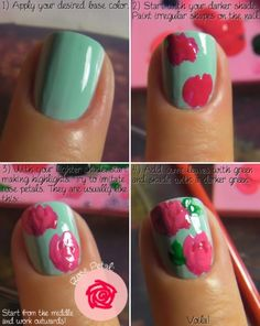 rose nail art Real source: http://emeraldsparkled.wordpress.com/2010/10/19/notd-bubblegum/