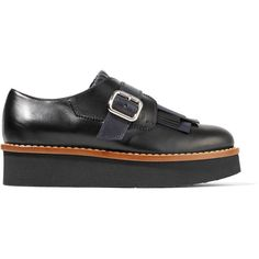 Tod's Fringed leather brogues (19.670 CZK) ❤ liked on Polyvore featuring shoes, oxfords, black, black leather brogues, black shoes, leather oxfords, black leather shoes and tods shoes
