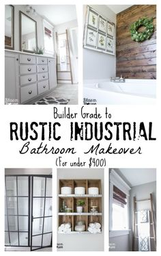 Bless'er House: Master Bathroom Budget Makeover: Builder Grade to Rustic Industrial