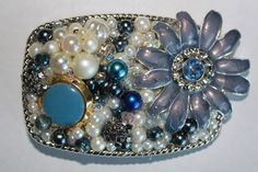 Beautifully Detailed Blue Vintage Jewelry Belt by EnchantedDooDads.
