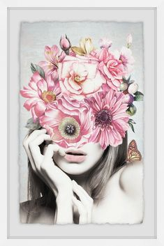Pink Floral Beauty Framed Print - 20 x 30 Paper Collage Art, Paper Artwork, Face Collage, Flamingo Painting, Angel Drawing, Fabric Painting, Watercolor Paintings, Framed Art Prints, Rose