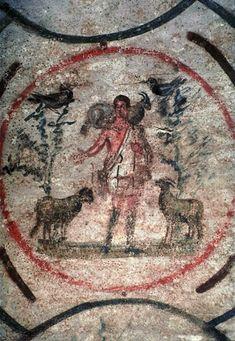 Christ the Good Shepherd, Catacomb of Priscilla, Rome, 3-4th century CE - unbeareded.
