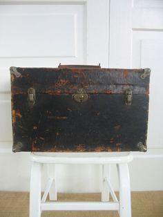 Vintage Black Box Case Industrial Metal Wood by vintagejane