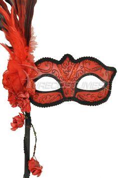 Floral Cascade Venetian Stick Mask (Red) - $19.95 #masquerade #masks #eyeswideshut