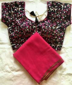 Vastrangam An Online Women's Ethnic & Western Clothing Store Sari Blouse Designs, Fancy Blouse Designs, Baby Frocks Party Wear, Hand Embroidery, Embroidery Designs, Mirror Work Blouse Design, Latest Silk Sarees, Saree Trends, Elegant Saree