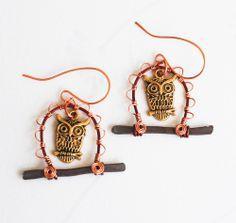 Lucky Golden Owl In Your Garden Unique Wire Wrap Art Earrings #jeanninehandmade #Charm