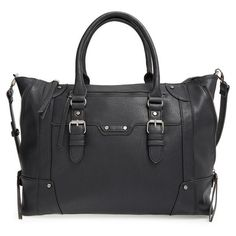 Sole Society Large Winged Tote (8.420 ISK) ❤ liked on Polyvore featuring bags, handbags, tote bags, black, tote purse, wing tote, zip top tote, black tote bag and black tote handbag