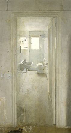 El Cuarto de Baño , The Toilet   -  Antonio López Garcia, 1966  Spanish, b.1936-  Oil on canvas,  228 x 119 cm.