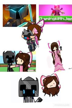 My little collage of PopularMMOs and GamingWithJen fan art I found!