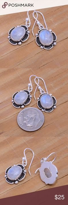 """Sterling Silver & Moonstone Earrings Stamped """"Sterling"""".   This is not a stock photo. The image is of the actual article that is being sold  Sterling silver is an alloy of silver containing 92.5% by mass of silver and 7.5% by mass of other metals, usually copper. The sterling silver standard has a minimum millesimal fineness of 925.  All my jewelry is solid sterling silver. I do not plate.   Hand crafted in Taxco, Mexico.  Will ship within 2 days of order. Jewelry Earrings"""