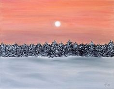 Snowy Tree Sunset Painting, 14 x 11, Original Art, Oil Painting, Landscape Painting, Winter Painting, Sunset Painting, Christmas Painting by CFineArtStudio on Etsy
