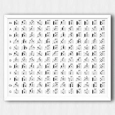 All the guitar chords in one big poster that is easy-to-read. Simple, minimal, and highly practical. Easy Guitar Chords, Guitar Posters, Music Theory, Music Education, Guitar Lessons, Playing Guitar, Printables, Manish, Tat