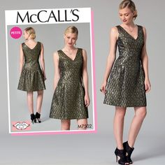 McCall's Sewing Pattern by Phoebe Couture M7502 Misses'/Miss Petite Drop-Waist, V-Neck Dress … WeaverDee.com