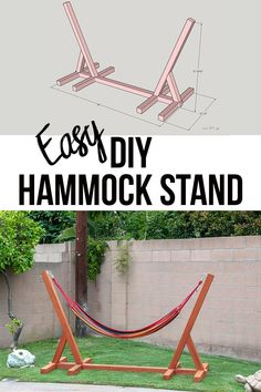 Easy DIY Hammock Stand Using 3 Tools - Full Tutorial, Video and Plans This is so easy and awesome! Easy and simple DIY Hammock stand! How to build a wooden hammock stand. There are plans, video and a full tutorial to make this! Backyard Projects, Diy Wood Projects, Outdoor Projects, Best Diy Projects, Diy House Projects, Diy Simple, Easy Diy, Diy Home Decor Bedroom, Diy Home Decor On A Budget
