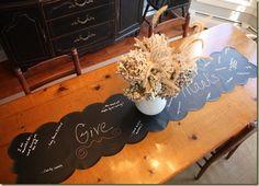 Thanksgiving chalkboard table runner - giving thanks