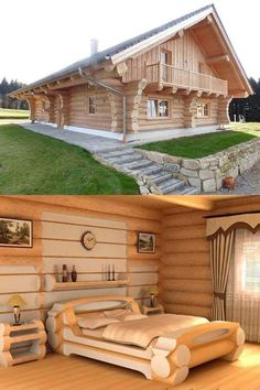 How To Build A Log Cabin, Small Log Cabin, Tiny House Cabin, Log Cabin Homes, Tiny House Design, Modern House Plans, Small House Plans, Cordwood Homes, Mountain Home Exterior