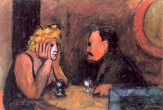 J. Czapski, Coppia al caffè, 1980, olio su tela