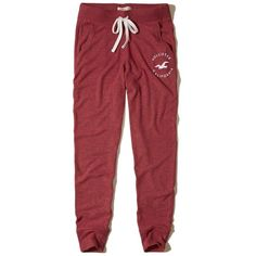 Hollister Graphic Fleece Joggers ($35) ❤ liked on Polyvore featuring activewear, activewear pants and heather red
