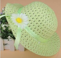 Fashion Lovely Bowknot Kids Girl Cute Summer Beach Sun Protection Straw Hat Flower Cap