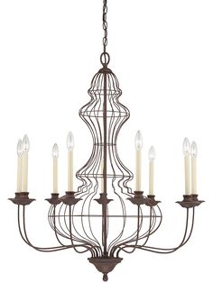 Rusted wire chandelier - a whimsical take on the classical candle chandelier.... Perfect for screened in porch/sun room.
