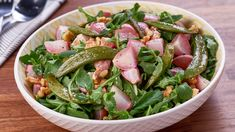 It's packed with mixed greens, lemon juice, walnuts and more! Snap Peas Recipe, Snap Pea Salad, Mary's Kitchen, Radish Greens, Roasted Radishes, Fresh Mint Leaves, Sugar Snap Peas, How To Squeeze Lemons, How To Make Salad